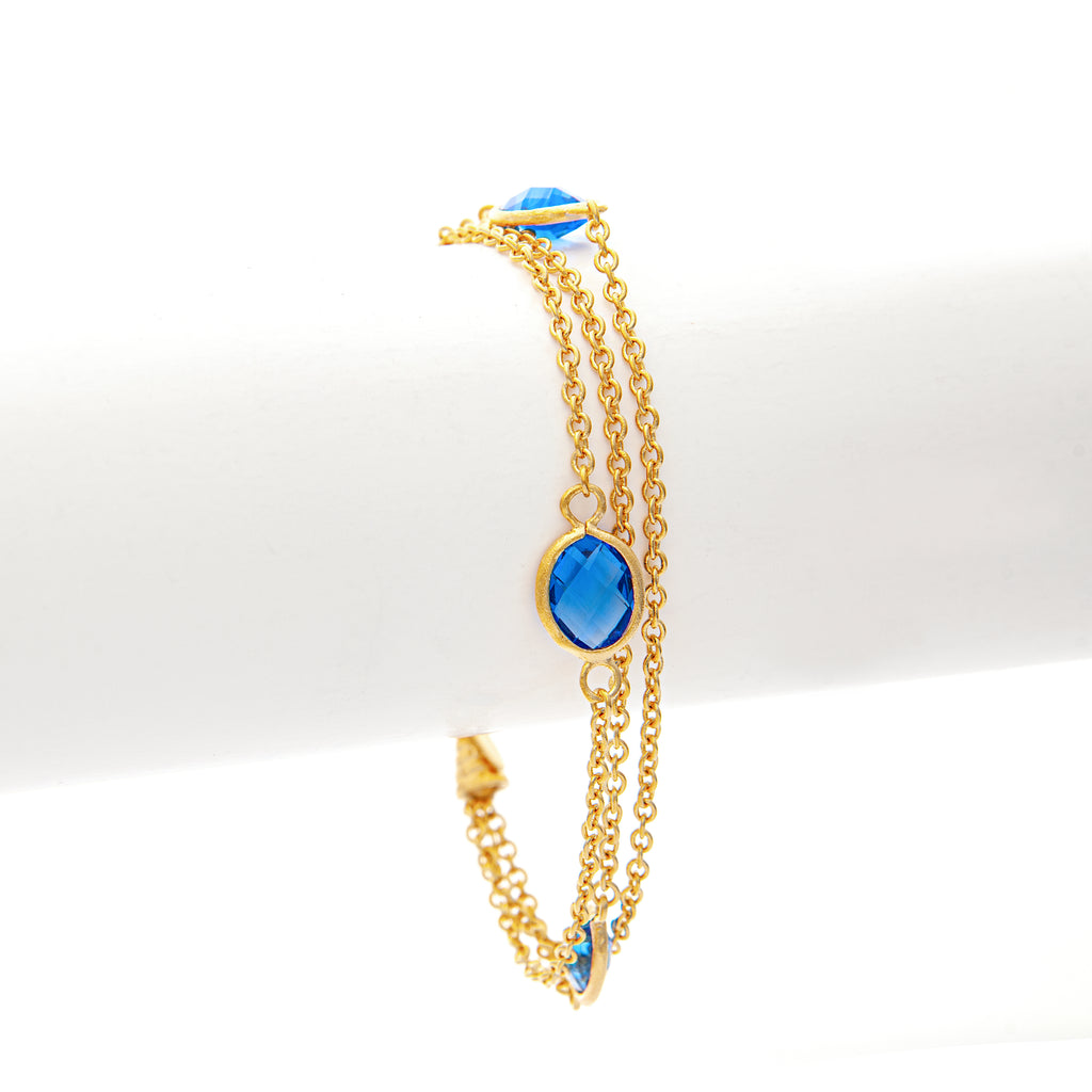 Poppy Blue 3 Row Station Bracelet