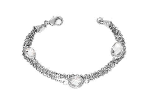 Rhodium Rock Crystal Multi Chain Bracelet