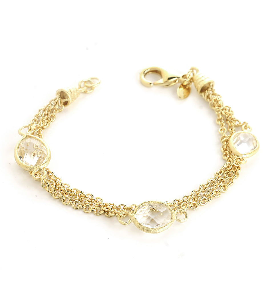 Rock Crystal 3 Row Station Bracelet