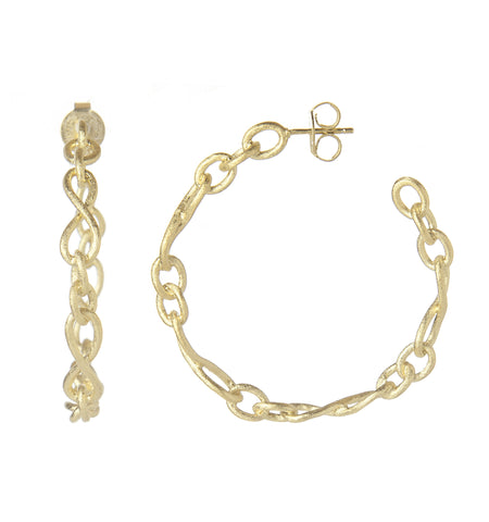 Satin Infinity Link Hoop Earrings