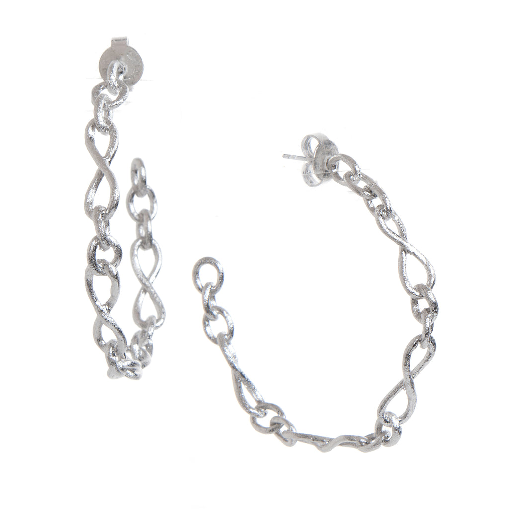 Rhodium Satin Infinity Link Hoop Earrings