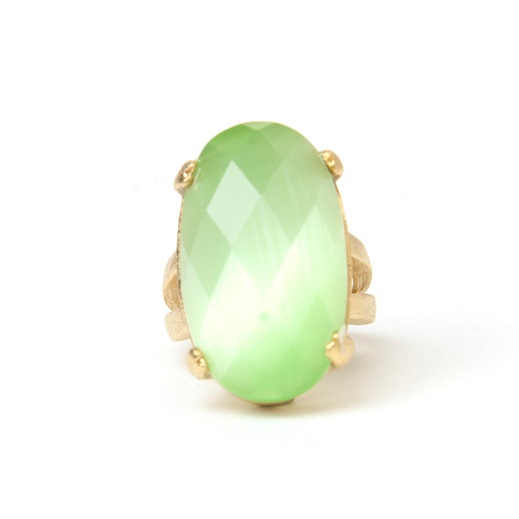Cat's Eye Lime Cocktail Ring