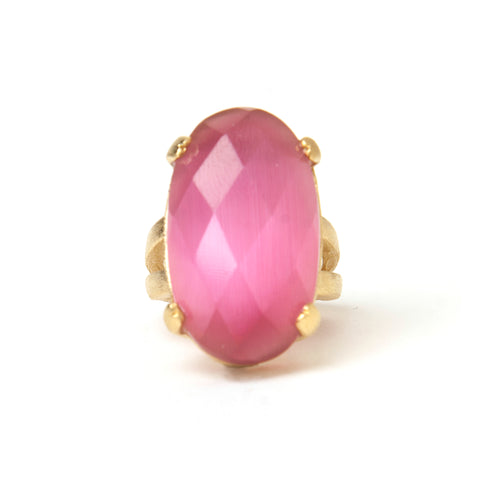 Cat's Eye Raspberry Cocktail Ring