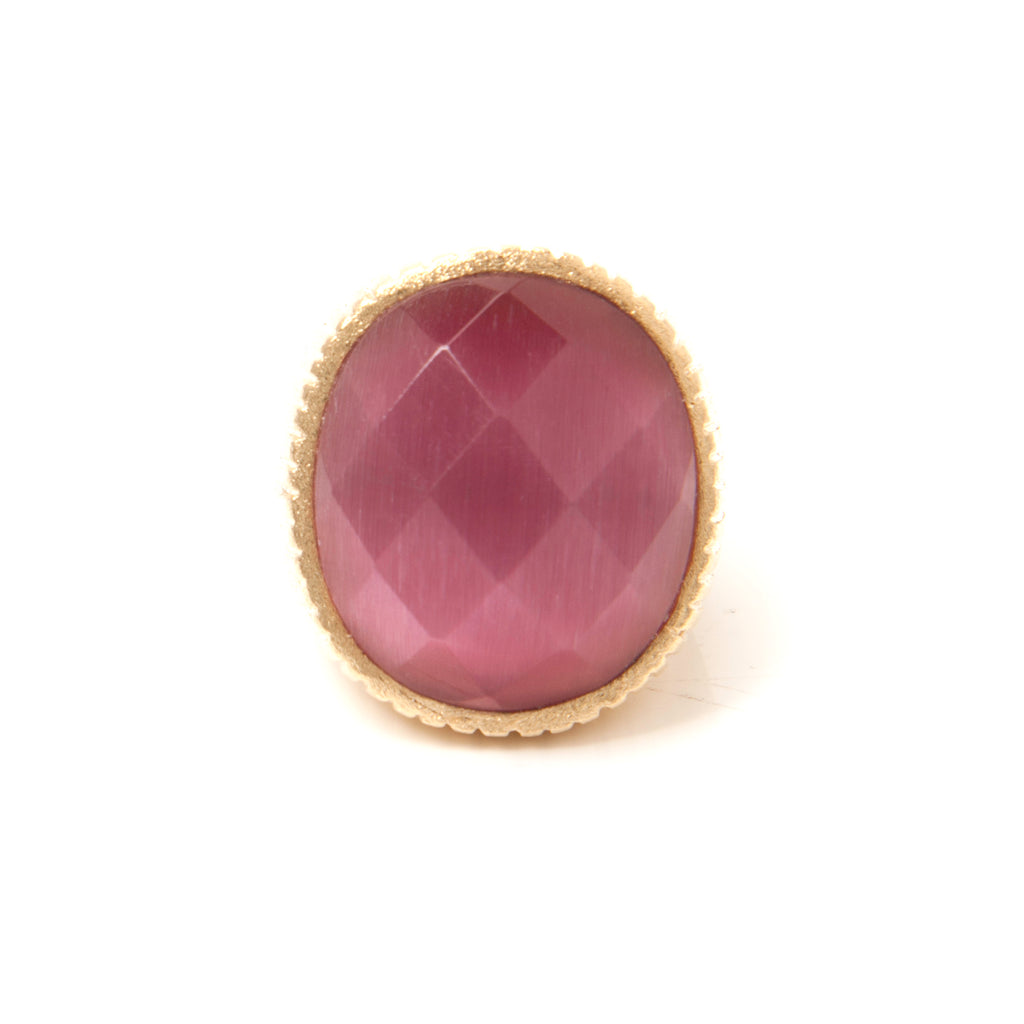Cat's Eye Raspberry Oval Cocktail Ring
