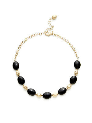 "Oval Black Onyx 20"" Necklace - Closeout"