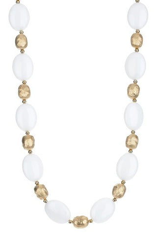 "Oval White Agate 20"" Necklace - Closeout"