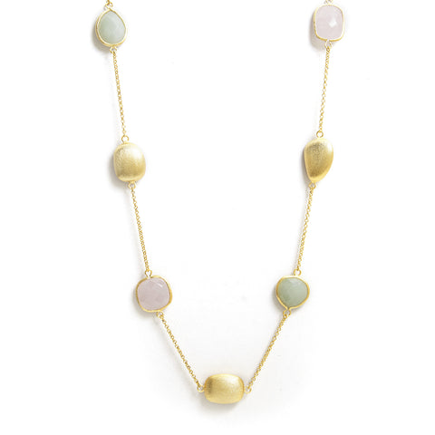 "New Jade, Rose Quartz + Satin Bead 33"" Station Necklace"