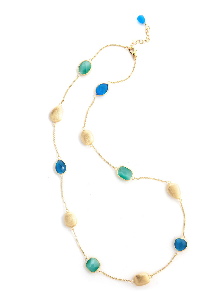 Aqua + Blue Cat's Eye + Satin Pebble Station Necklace