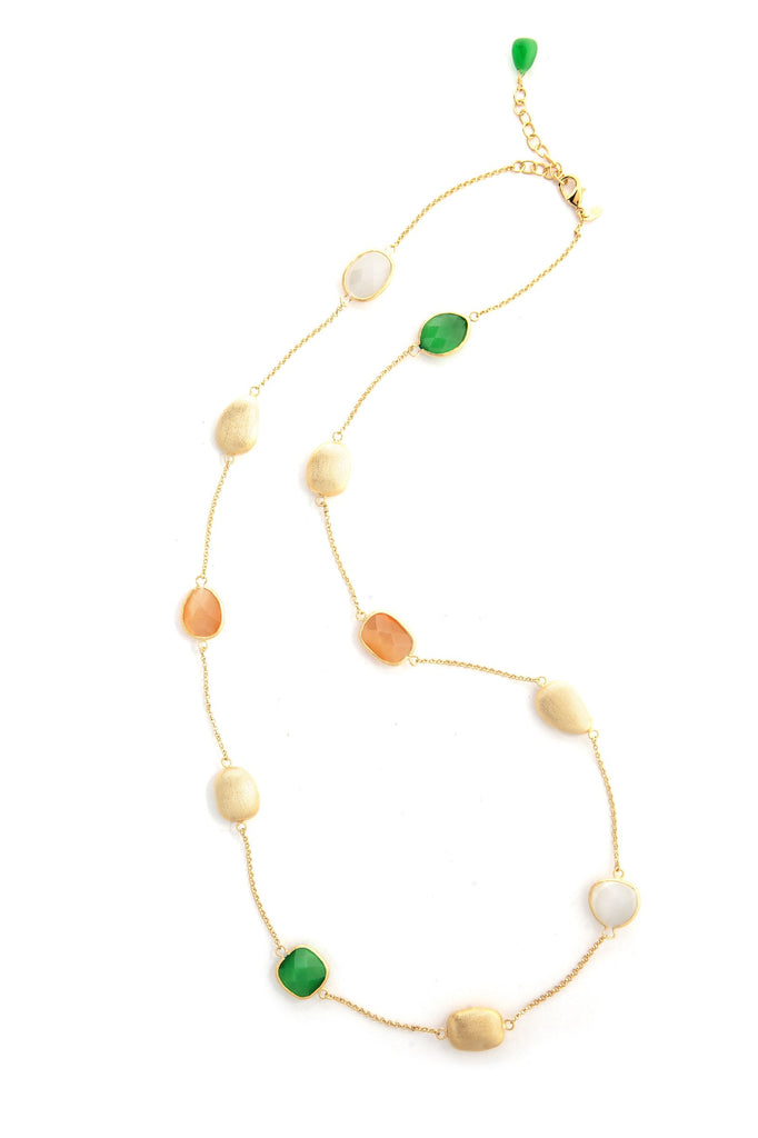 Cat's Eye Dark Green + Orange + White Satin Pebble Station Necklace - Closeout