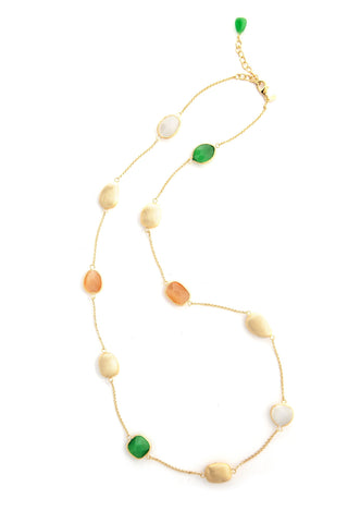 Cat's Eye Dark Green + Orange + White Satin Pebble Station Necklace
