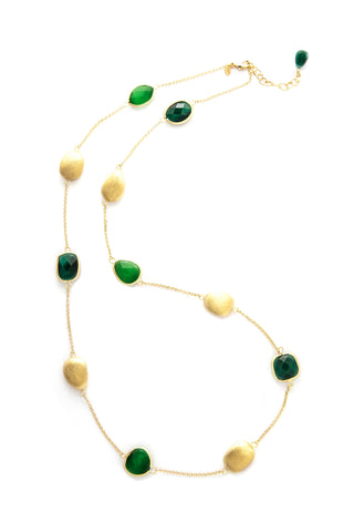 Cat's Eye Green + Dark Green + Satin Pebble Station Necklace