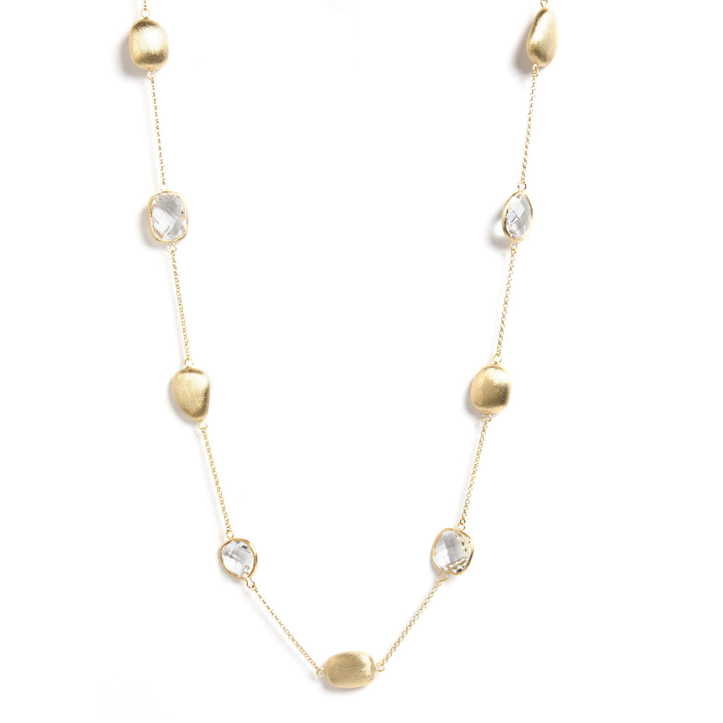 "Rock Crystal + Satin Bead 33"" Station Necklace"