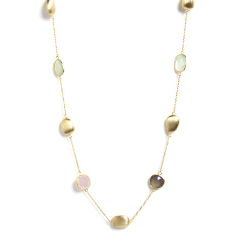 "Multi Gem Satin Bead 33"" Station Necklace"