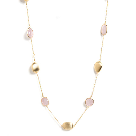 "Rose Quartz + Satin Pebble 33"" Station Necklace"