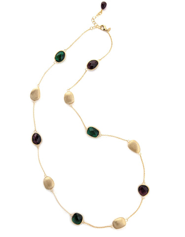 Tourmaline + Emerald Satin Pebble Station Necklace