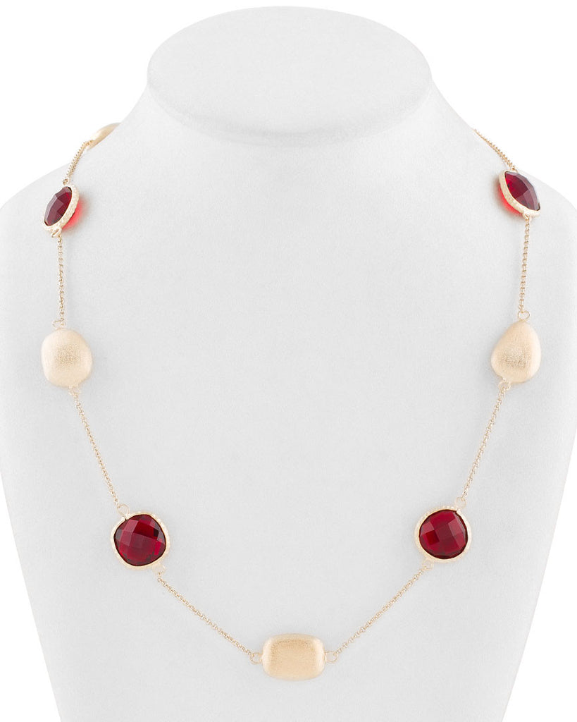 Garnet Crystal + Satin Pebble Station Necklace