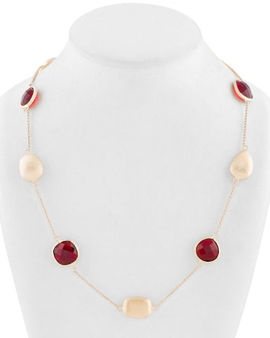 Garnet Crystal + Satin Bead Station Necklace