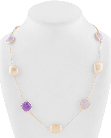 Lavender Quartzite + Purple Quartzite + Satin Pebble  Station Necklace