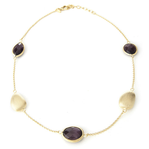 Purple Cat's Eye + Satin Pebble Station Necklace