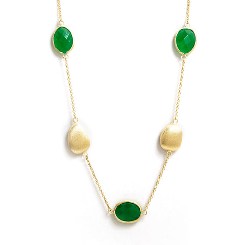 Green Quartzite + Satin Pebble Station Necklace - Closeout