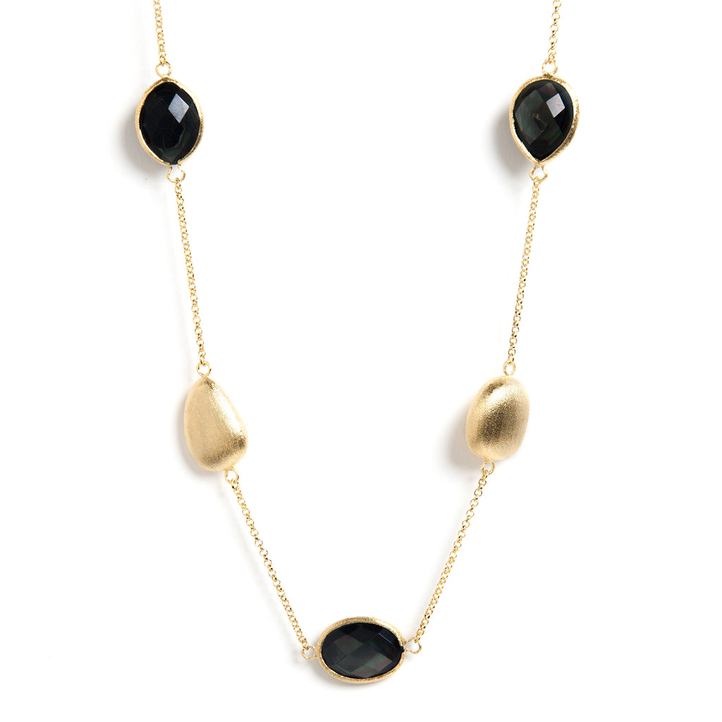 Black Mother of Pearl + Satin Pebble Station Necklace