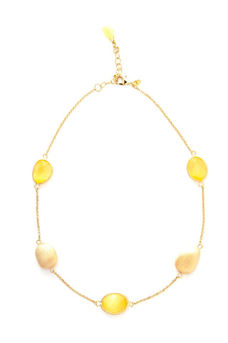 Cat's Eye Yellow + Satin Pebble Station Necklace