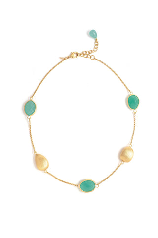 Mint Chalcedony + Satin Pebble Station Necklace