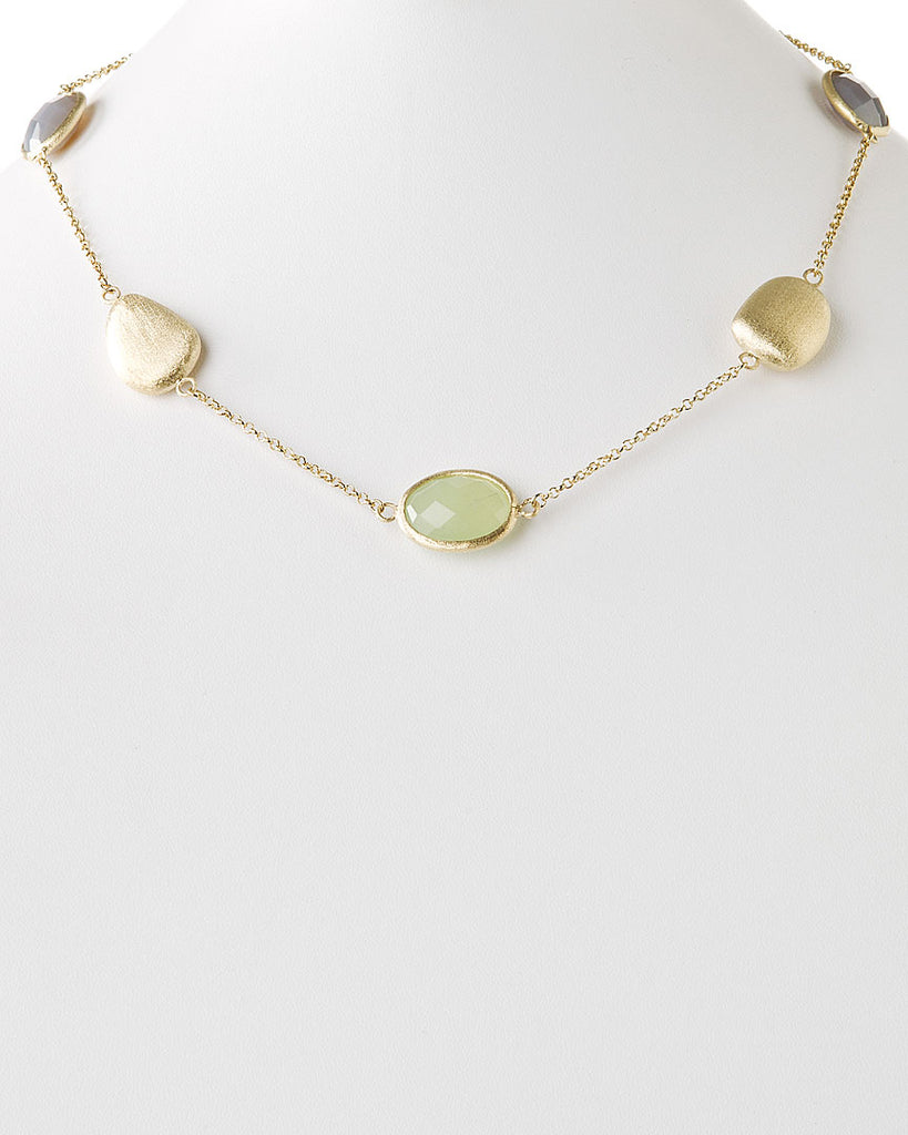 New Jade + Grey Chalcedony + Satin Pebble Station Necklace