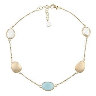 Rock Crystal + Caribbean Quartzite + Satin Pebble Station Necklace