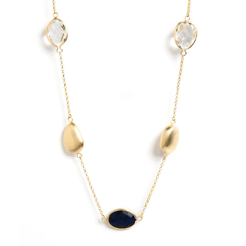 Lapis + Rock Crystal + Satin Pebble Station Necklace - Closeout
