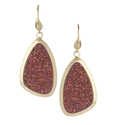 Red Velvet Druzy Quartz Earrings