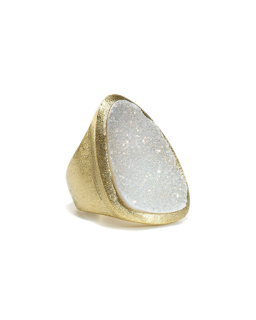 White Druzy Quartz Organic Cocktail Ring