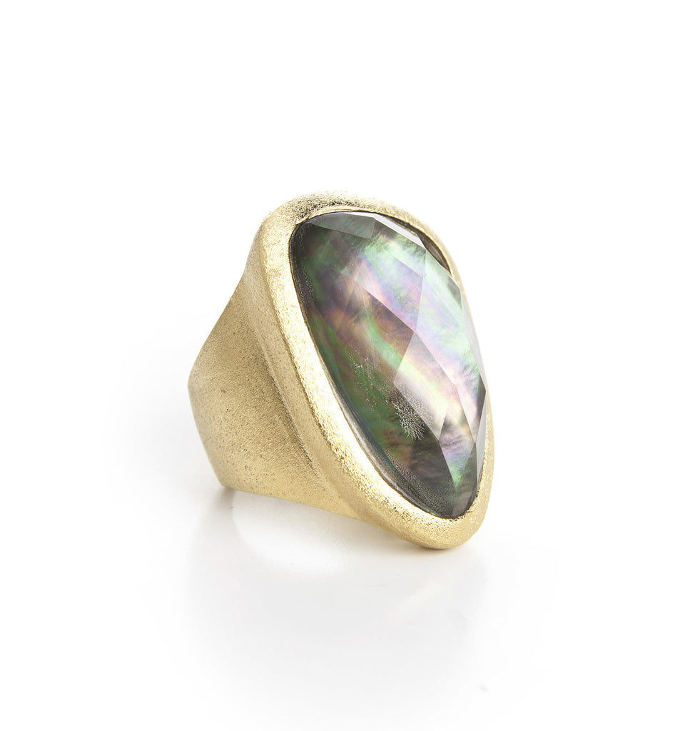 Black Mother of Pearl Doublet Organic Cocktail Ring