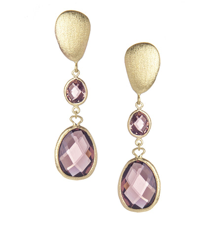 Raspberry Tourmaline Double Drop Earrings