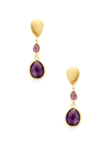 Amethyst + Satin Pebble Cascading Earrings
