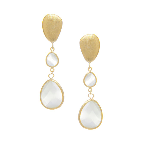 Cat's Eye White + Satin Pebble Cascading Earrings