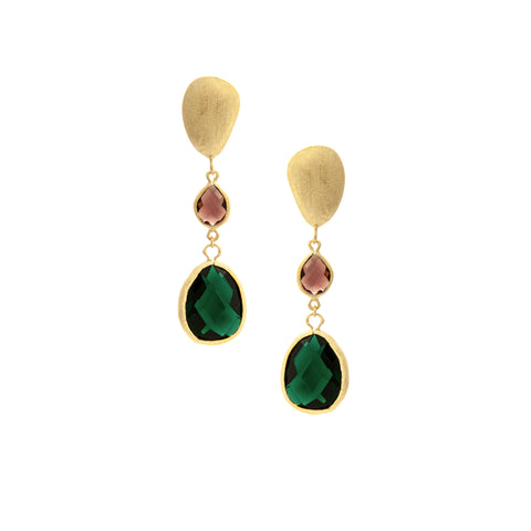 Tourmaline + Emerald + Satin Pebble Cascading Earrings