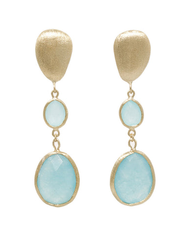 Caribbean Blue Quartzite + Satin Pebble Cascading Earrings