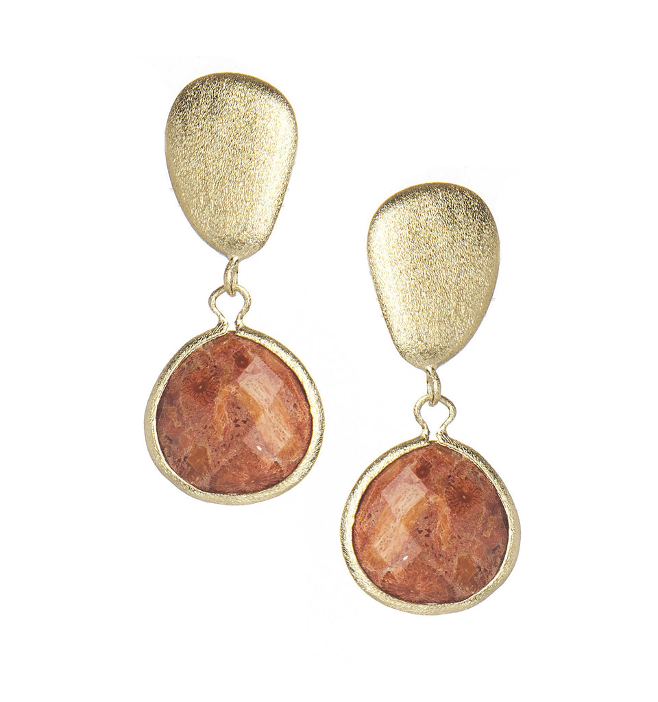 Coral Drop + Satin Pebble Earrings