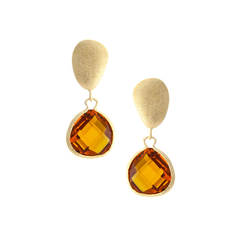 Amber Citrine Drop + Satin Pebble Earrings