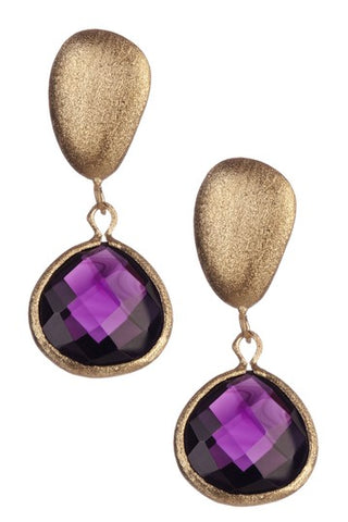 Amethyst + Satin Pebble Dangle Earrings