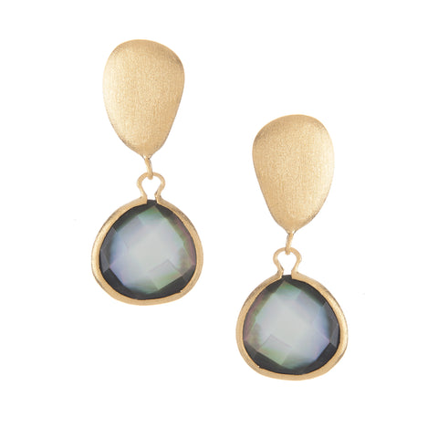 Black Mother of Pearl + Satin Pebble Dangle Earrings