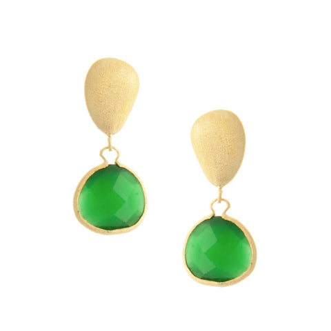 Cat's Eye Green  Drop + Satin Pebble Earrings
