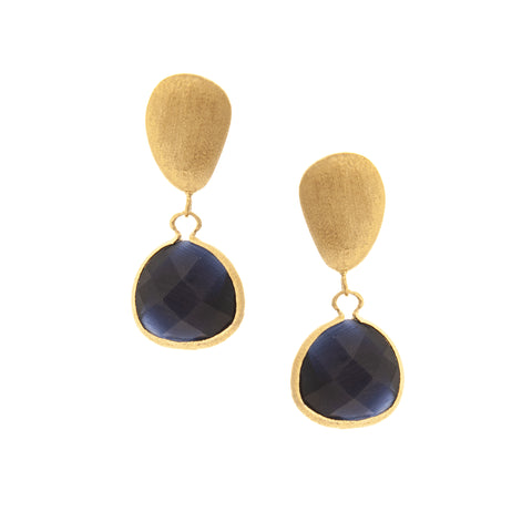 Cat's Eye Navy Drop + Satin Pebble Earrings