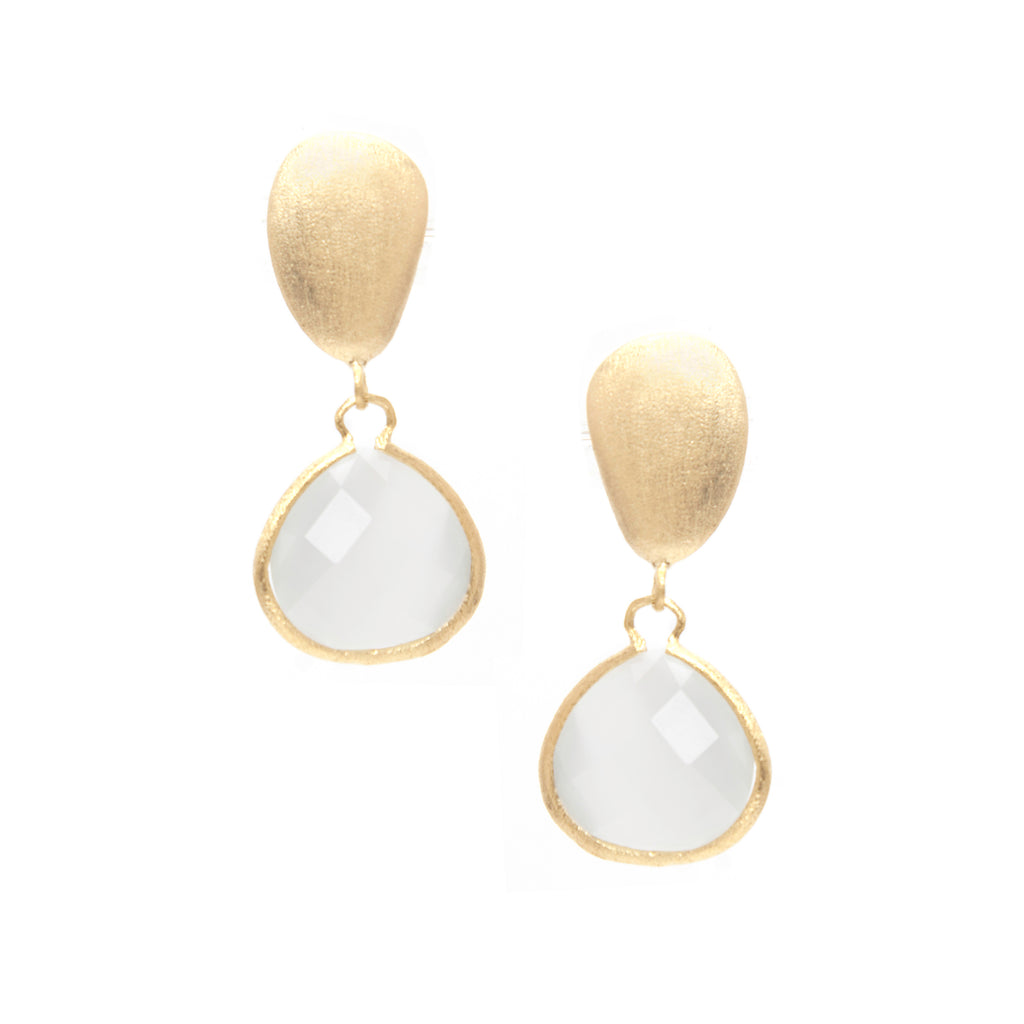 Cat's Eye White Drop + Satin Pebble Earrings