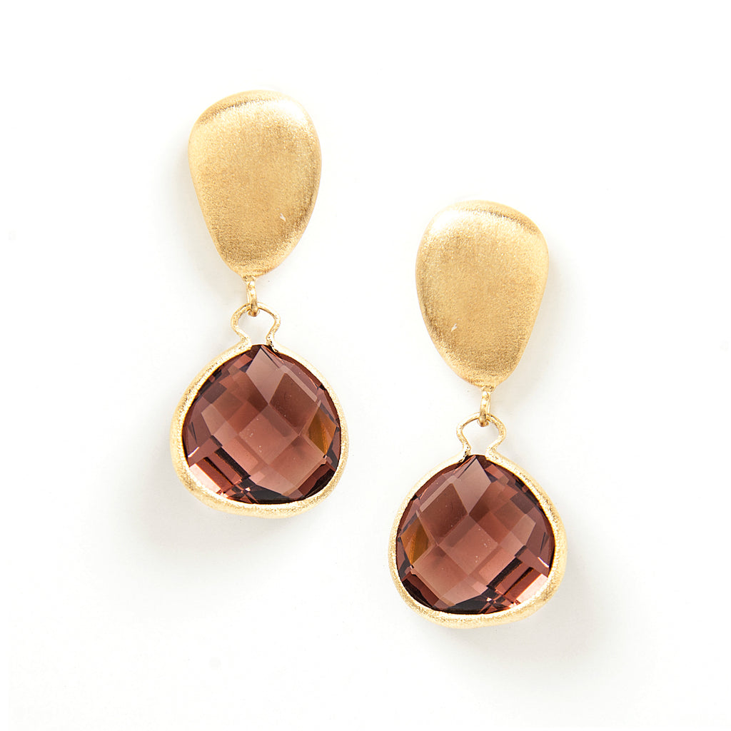 Raspberry Drop + Satin Pebble Earrings