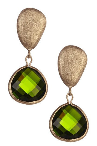 Peridot Drop + Satin Pebble Dangle Earrings