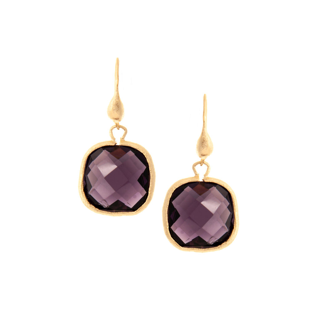 Amethyst Cushion Cut Dangle Earrings