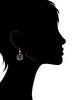 Black Mother of Pearl Cushion Cut Dangle Earrings
