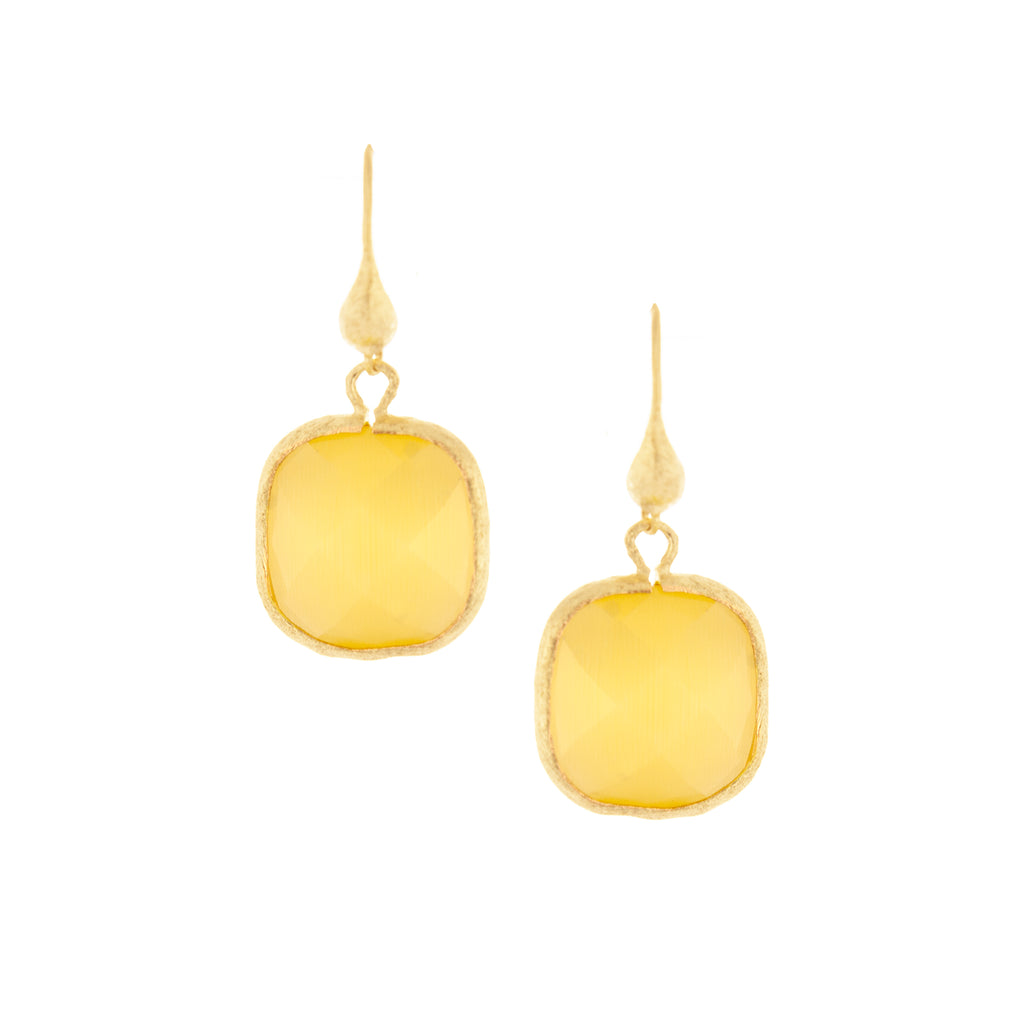 Cat's Eye Yellow Cushion Cut Dangle Earrings